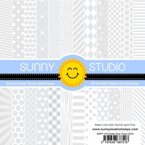 Sunny Studio Stamps - 6 x 6 Paper Pack - Subtle Grey Tones
