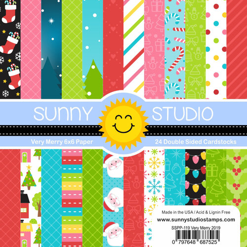 Sunny Studio Stamps - Christmas - 6 x 6 Paper Pack - Very Merry