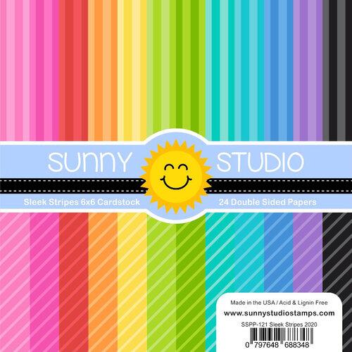 Sunny Studio Stamps - 6 x 6 Paper Pack - Sleek Stripes