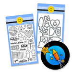 Sunny Studio Stamps - Snippits Die and Acrylic Stamp Set - Stars and Stripes Bundle