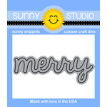 Sunny Studio Stamps - Christmas - Sunny Snippets - Dies - Merry Word - 2.75 Inches
