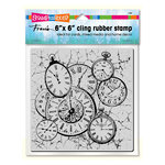 Stampendous - Cling Mounted Rubber Stamps - 6 x 6 - Clock Collage