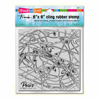 Stampendous - Cling Mounted Rubber Stamps - 6 x 6 - Paris Map