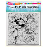 Stampendous - Christmas - Cling Mounted Rubber Stamps - 6 x 6 - Poinsettia Collage