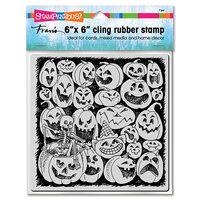 Stampendous - Halloween - Cling Mounted Rubber Stamps - Pumpkin Spooks