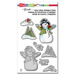 Stampendous - Christmas - Die and Cling Mounted Rubber Stamp Set - Snowman Cardinals