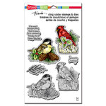 Stampendous - Christmas - Die and Cling Mounted Rubber Stamp Set - Holiday Birds