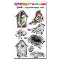 Stampendous - Die and Cling Mounted Rubber Stamp Set - Bird Collage