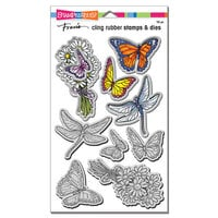 Stampendous - Die and Cling Mounted Rubber Stamp Set - Daisy Collage