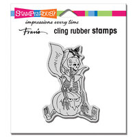 Stampendous - Halloween - Cling Mounted Rubber Stamps - Seated Skelly