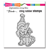 Stampendous - Christmas - Cling Mounted Rubber Stamps - Scarf Puppy