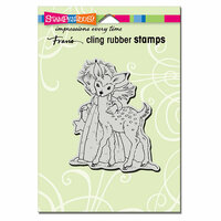 Stampendous - Christmas - Cling Mounted Rubber Stamps - Cherub Deer