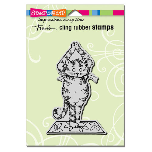 Stampendous - Cling Mounted Rubber Stamps - Yoga Cat