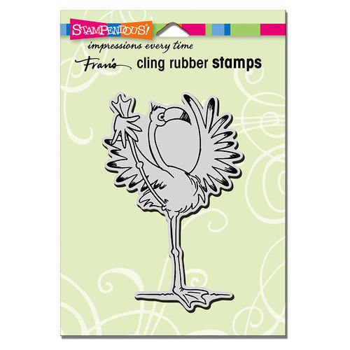 Stampendous - Cling Mounted Rubber Stamps - Yoga Flamingo