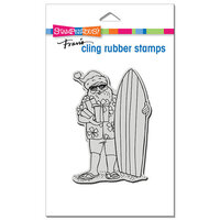 Stampendous - Christmas - Cling Mounted Rubber Stamps - Surfing Santa
