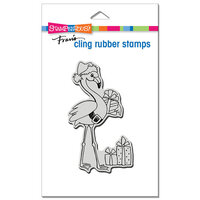 Stampendous - Christmas - Cling Mounted Rubber Stamps - Flamingo Santa