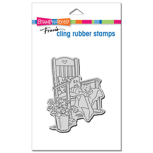Stampendous - Cling Mounted Rubber Stamps - Cat In Rocker