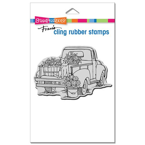 Stampendous - Cling Mounted Rubber Stamps - Pup On Truck