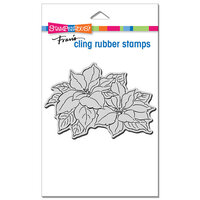 Stampendous - Christmas - Cling Mounted Rubber Stamps - Precious Poinsettias