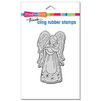 Stampendous - Christmas - Cling Mounted Rubber Stamps - Purrfect Angel