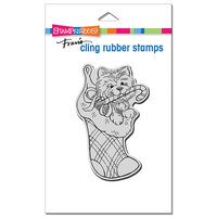 Stampendous - Christmas - Cling Mounted Rubber Stamps - Puppy Stocking
