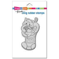 Stampendous - Christmas - Cling Mounted Rubber Stamps - Kitten Stocking