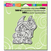 Stampendous - Halloween - Cling Mounted Rubber Stamps - Witchy Friends