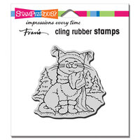 Stampendous - Christmas - Cling Mounted Rubber Stamps - Scarf Kitty