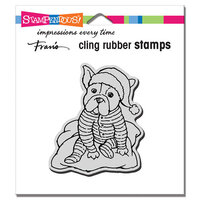 Stampendous - Christmas - Cling Mounted Rubber Stamps - Pajama Pup