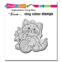 Stampendous - Christmas - Cling Mounted Rubber Stamps - Kitten Ornament