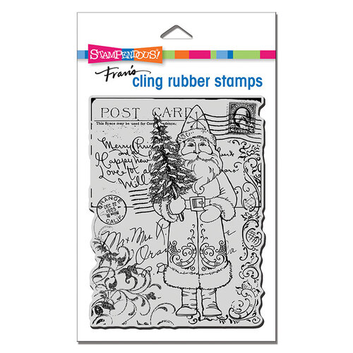Stampendous - Christmas - Cling Mounted Rubber Stamps - Postcard Santa