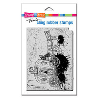 Stampendous - Halloween - Cling Mounted Rubber Stamps - Scary Carriage