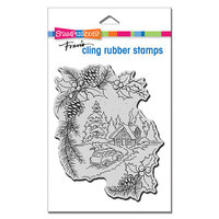 Stampendous - Christmas - Cling Mounted Rubber Stamps - Pine Cabin