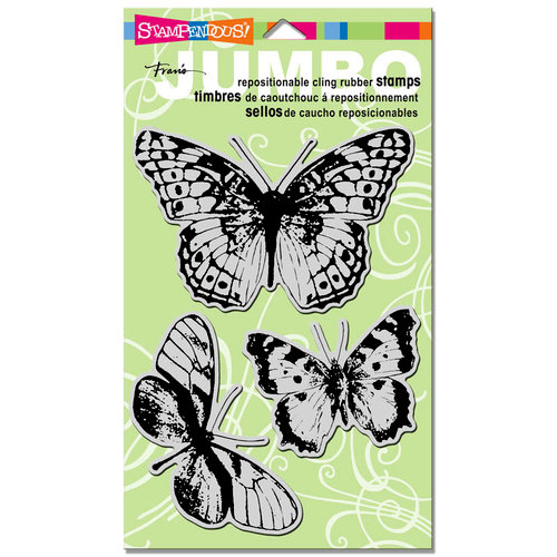 Stampendous - Cling Mounted Rubber Stamps - Jumbo - Butterfly Trio