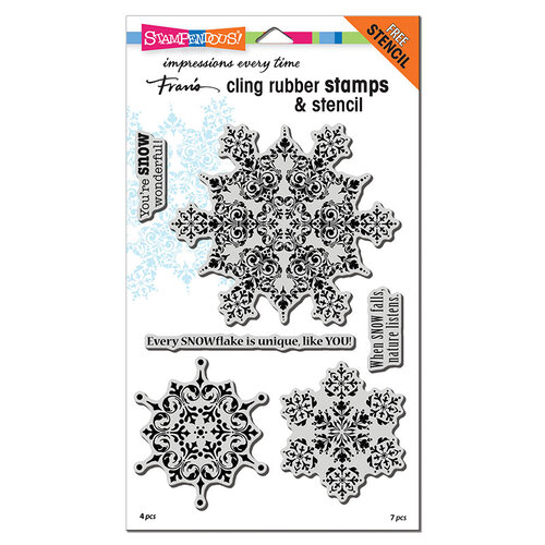 Stampendous - Christmas - Cling Mounted Rubber Stamps - Intricate Snowflakes