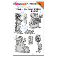 Stampendous - Christmas - Cling Mounted Rubber Stamps - Giving Snowmen