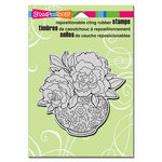Stampendous - Cling Mounted Rubber Stamps - Peony Vase