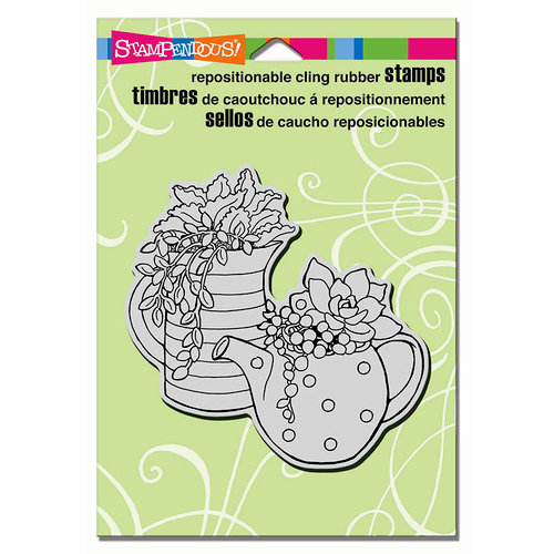 Stampendous - Cling Mounted Rubber Stamps - Potted Succulents
