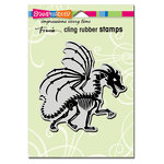Stampendous - Halloween - Cling Mounted Rubber Stamps - Dragon Skeleton