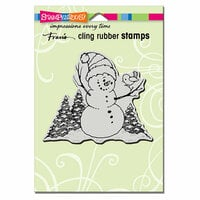 Stampendous - Christmas - Cling Mounted Rubber Stamps - Snowman Perch