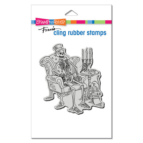 Stampendous - Halloween - Cling Mounted Rubber Stamps - Seated Skeleton