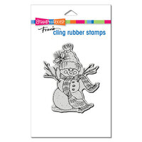 Stampendous - Christmas - Cling Mounted Rubber Stamps - Snowman Scarf