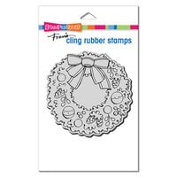 Stampendous - Christmas - Cling Mounted Rubber Stamps - Pinecone Wreath