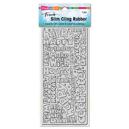 Stampendous - Cling Mounted Rubber Stamps - Slimline - Birthday Words