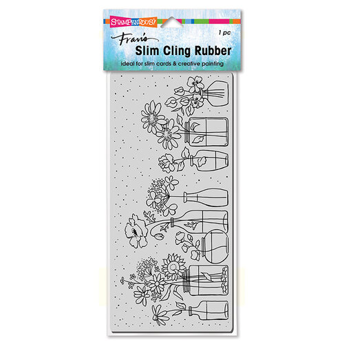 Stampendous - Cling Mounted Rubber Stamps - Slimline - Wildflower Jar