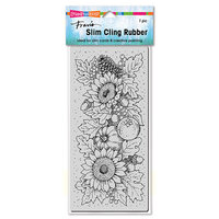 Stampendous - Cling Mounted Rubber Stamps - Slimline - Fall Sunflowers
