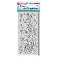 Stampendous - Christmas - Cling Mounted Rubber Stamps - Slimline - Snow People