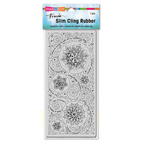 Stampendous - Christmas - Cling Mounted Rubber Stamps - Slimline - Snowflake Wishes