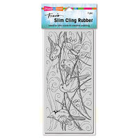 Stampendous - Christmas - Cling Mounted Rubber Stamps - Slimline - Snowy Birds