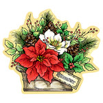 Stampendous - Christmas - Wood Mounted Stamps - Curio Poinsettia